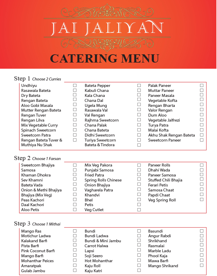 OUR CATERING MENU